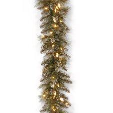 Glittery Bristle Pine Pre-Lit Garland