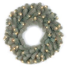 Colorado Spruce Pre-Lit Feel-Real Frosted Wreath with 50 Clear Lights