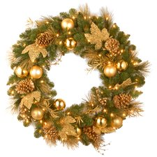 Decorative Pre-Lit Elegance Wreath with 50 Battery-Operated White LED Lights