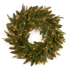 Fraser Pre-Lit Feel-Real Grande Wreath with Clear Lights