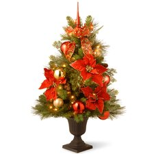 3' Green Pine Artificial Christmas Tree with 50 Pre-Lit Clear Lights with Urn Base