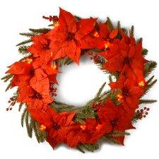 Pre-Lit Poinsettia Wreath