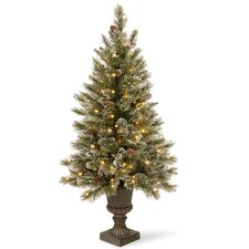 Glittery Bristle Pine 5' Green Artificial Christmas Tree with 150 Colored & Clear Lights