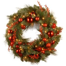 "Decorative Pre-Lit 24"" Christmas Mixed Wreaths with 50 Battery-Operated White LED Lights"