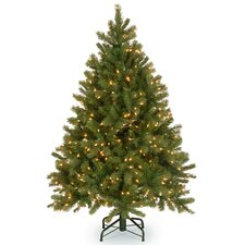"""Downswept Douglas 4.5"""" Green Fir Artificial Christmas Tree with 450 Clear Lights and Stand"""