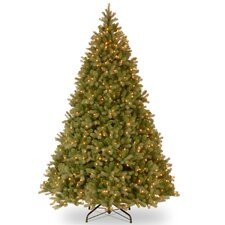 "Downswept Douglas Fir 9"" Green Evergreen Fir Artificial Christmas Tree with 900 Pre-Lit Clear Lights with Stand"