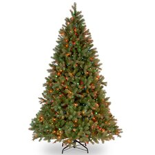 "Downswept Douglas 7.5"" Green Fir Artificial Christmas Tree with 750 Multi Lights and Stand"