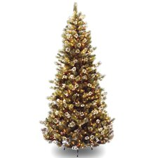 Glittery Pine 7.5' Slim Hinged Pine Artificial Christmas Tree with 500 Clear Lights