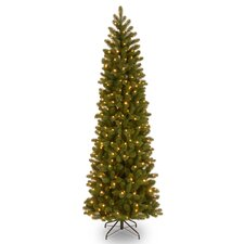 """Downswept Douglas 7.5"""" Green Fir Artificial Christmas Tree with 350 Clear Lights and Stand"""