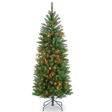 "Kingswood 4.5"" Green Fir Pencil Artificial Christmas Tree with Multi-Colored Lights with Stand"