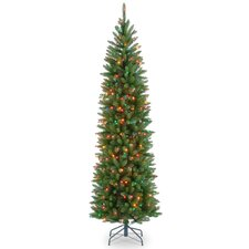 Kingswood 6.5' Green Fir Pencil Artificial Christmas Tree with Multi-Colored Lights