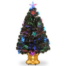 "Fiber Optics 3"" Green Firework Artificial Christmas Tree with LED Multi Light with Gold Base"