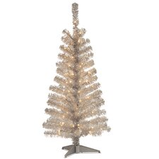 Tinsel Trees 4' Silver Artificial Christmas Tree with 70 Clear Lights and Stand