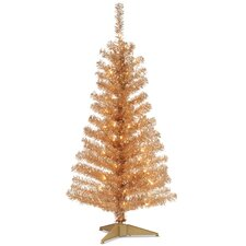 "Tinsel Trees 4"" Champagne Artificial Christmas Tree with 70 Clear Lights and Stand"