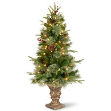 Colonial 4' Green Artificial Christmas Tree with 100 Clear Lights with Pot