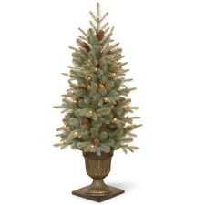 4' Green Spruce Artificial Christmas Tree with 100 Clear Lights with Pot