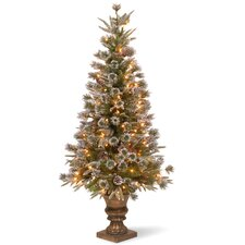 Liberty Pine 4' Green Artificial Christmas Tree with 100 Clear Lights with Pot