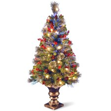 "Fiber Optics Crestwood 4"" Spruce Artificial Christmas Tree with 50 Clear LED Lights with Urn Base"