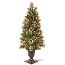 Wintry Pine 4' Green Artificial Christmas Tree with 50 Clear Lights with Urn Base