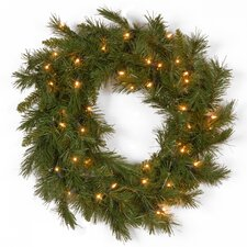 Winchester Pine Pre-Lit Wreath with Clear Lights