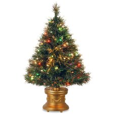 """Fiber Optics 3"""" Green Firework Artificial Christmas Tree with 50 LED Multi Lights and Stand"""