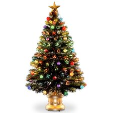 4' Fiber Optics Fireworks Green Artificial Christmas Tree with Multicolored Lights with Base and Ornaments
