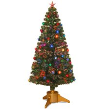 Fiber Optic 6' Green Firework Artificial Christmas Tree with Halogen Multi Light and Stand