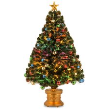 Fiber Optics 4' Green Firework Artificial Christmas Tree with Multi Light and Stand