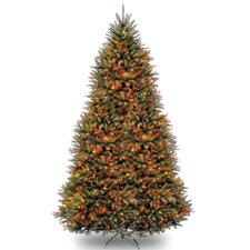 Dunhill Fir 9' Hinged Green Artificial Christmas Tree with 900 LED Multicolored Lights