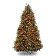 Dunhill Fir 10' Hinged Green Artificial Christmas Tree with 1200 LED White/Multicolor Lights