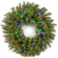 Norwood Fir Pre-Lit Wreath with 50 Battery-Operated LED Changing Colored Lights