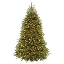Dunhill Fir 7.5' Hinged Green Artificial Christmas Tree with 700 LED White/Multicolor Lights