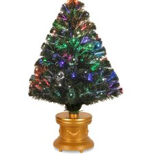 """Fiber Optics Radiance 2""""8"""" Green Firework Artificial Christmas Tree with Multi Light with Stand"""