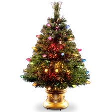 """Fiber Optics 4"""" Green Artificial Christmas Tree with LED Multi Light and Stand"""