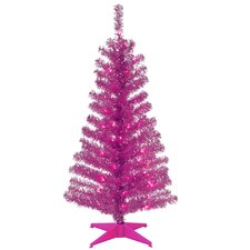 Tinsel Trees 4' Pink Artificial Christmas Tree with Plastic Stand
