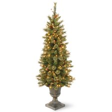 4' Green Pine Artificial Christmas Tree with 100 Incandescent Colored and Clear Lights with Stand