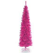 6' Pink Tinsel Wrapped Artificial Christmas Tree with Metal Stand