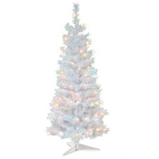 Tinsel Trees 4' White Iridescent Artificial Christmas Tree with 70 Colored and Clear Lights with Stand