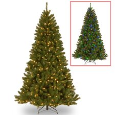 North Valley Spruce 7.5' Green Spruce Artificial Christmas Tree with 550 LED Colored and White Light with Stand