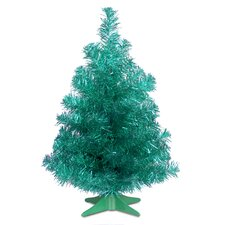 Tinsel Trees 2' Turquoise Tinsel Artificial Christmas Tree with Plastic Stand