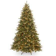 7.5' Green Fir Artificial Christmas Tree with 750 Incandescent Clear Lights with Stand