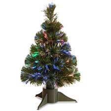 Fiber Optics 1.5' Green Artificial Christmas Tree LED with Stand