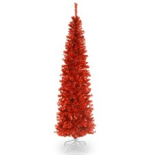 Tinsel Trees 6' Red Tree  Artificial Christmas Unlit with Stand