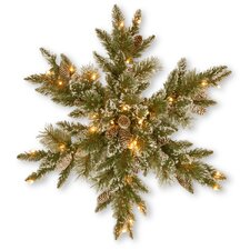 Glittery Bristle Pine Snowflake with 21 White Tipped Cones and 50 Clear Lights