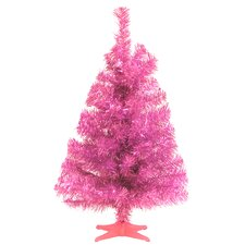Tinsel Trees 2' Pink Tinsel Artificial Christmas Tree with Pink Plastic Stand