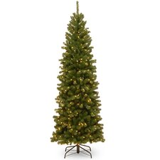 North Valley Spruce 7.5' Green Spruce Artificial Christmas Tree with 400 Clear Lights with Stand