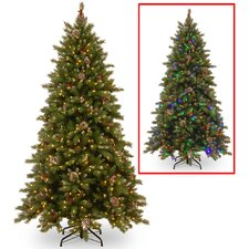 6.5' Frosted Berry Memory Hinged Christmas Tree with Dual Color LED Lights