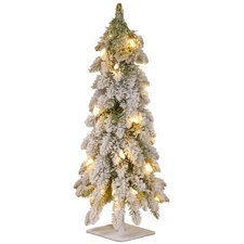 """24"""" White Snowy Downswept Forestree with Clear Lights"""