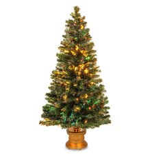 Fiber Optics Evergreen Firework 5' Multicolor Artificial Christmas Tree with Multicolor Lights with Base
