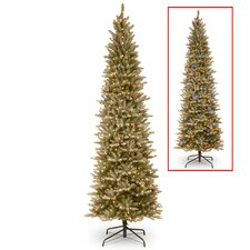 7.5' Frosted Green Fir Trees Artificial Christmas Tree with 600 LED Colored and White Lights with Stand